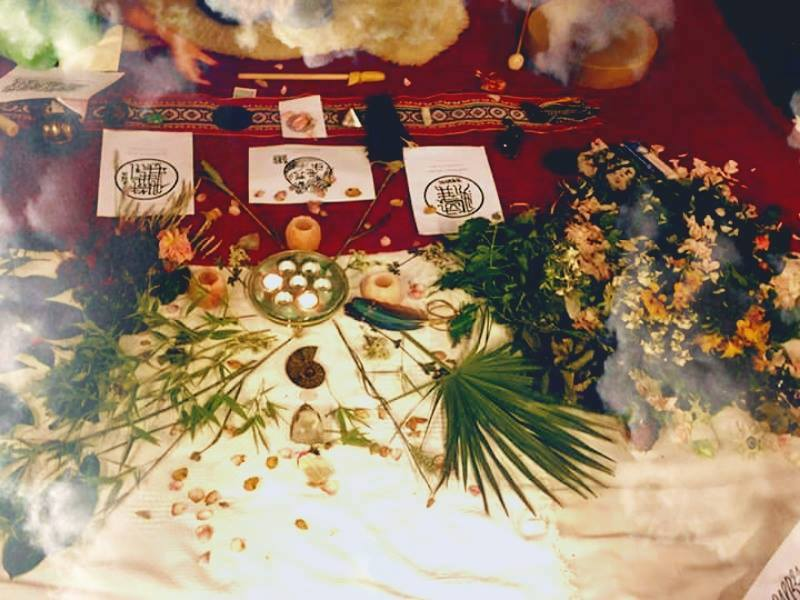 Ceremonial Altar with Cacao, Angelic healing Sigils and flowers