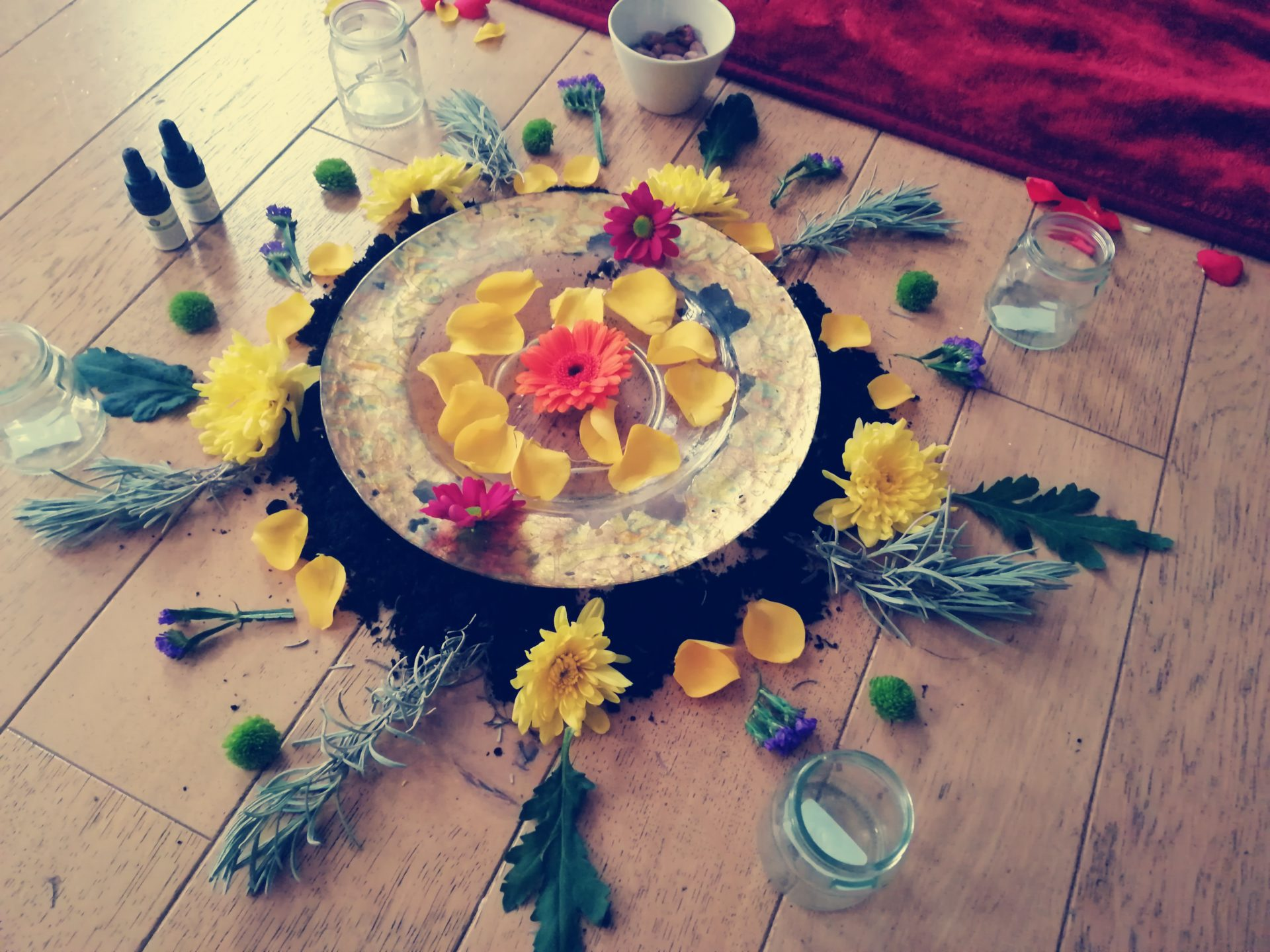 Flower altar from natural elements for a cacao ceremony